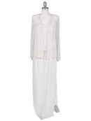 Ivory Beaded Mock Two Piece Dress with Jacket