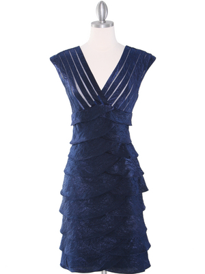 8334 Wide V-Neckline Tiered Cocktail Dress, Navy