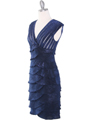 8334 Wide V-Neckline Tiered Cocktail Dress - Navy, Alt View Thumbnail