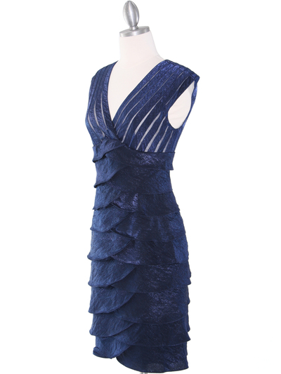 8334 Wide V-Neckline Tiered Cocktail Dress - Navy, Alt View Medium
