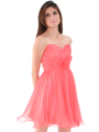8336 Strapless Sweetheart Cocktail Dress - Coral, Front View Thumbnail