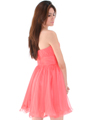 8336 Strapless Sweetheart Cocktail Dress - Coral, Back View Thumbnail