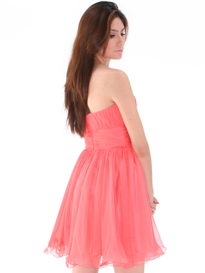 8336 Strapless Sweetheart Cocktail Dress - Coral, Back View Medium