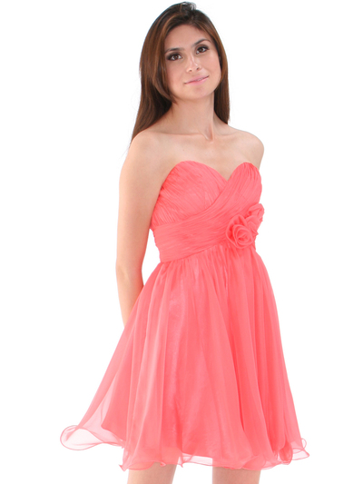 8336 Strapless Sweetheart Cocktail Dress - Coral, Front View Medium