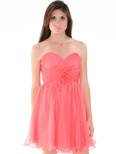 8336 Strapless Sweetheart Cocktail Dress - Coral, Alt View Medium