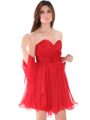 8336 Strapless Sweetheart Cocktail Dress - Red, Front View Thumbnail