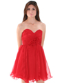 8336 Strapless Sweetheart Cocktail Dress - Red, Alt View Thumbnail
