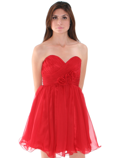8336 Strapless Sweetheart Cocktail Dress - Red, Alt View Medium