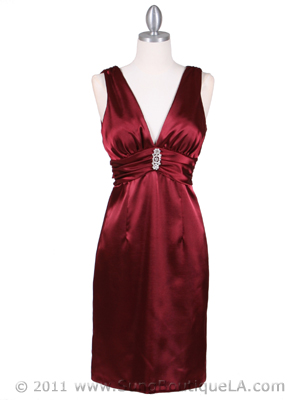 8476 Wine Cocktail Dress with Rhinestone Pin, Wine