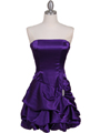 8484 Purple Bubble Cocktail Dress with Rhinestone Pin - Purple, Front View Thumbnail