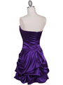 8484 Purple Bubble Cocktail Dress with Rhinestone Pin - Purple, Back View Thumbnail