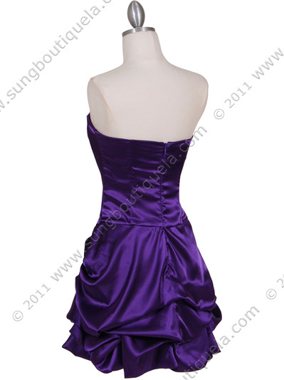 8484 Purple Bubble Cocktail Dress with Rhinestone Pin - Purple, Back View Medium
