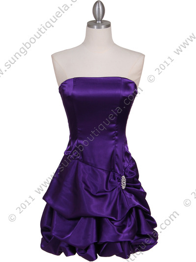 8484 Purple Bubble Cocktail Dress with Rhinestone Pin - Purple, Front View Medium