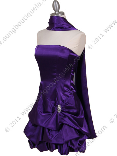 8484 Purple Bubble Cocktail Dress with Rhinestone Pin - Purple, Alt View Medium