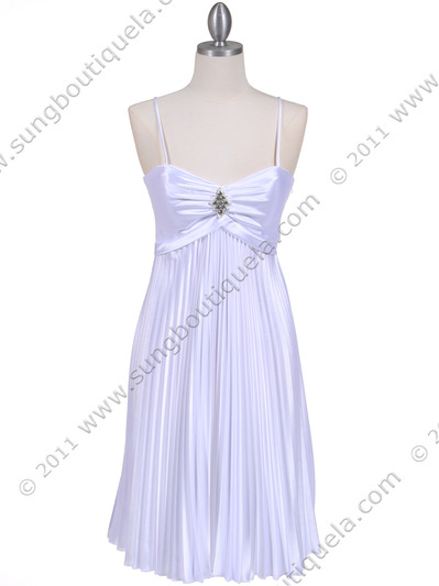 8491 White Pleated Cocktail Dress with Rhinestone Pin - White, Front View Medium
