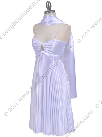 8491 White Pleated Cocktail Dress with Rhinestone Pin - White, Alt View Medium