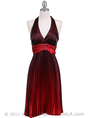 8494 Red 2-tone Pleated Cocktail Dress, Red