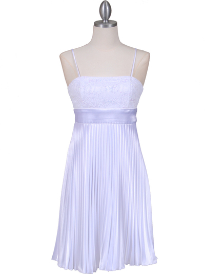 8515 White Pleated Cocktail Dress - White, Front View Medium