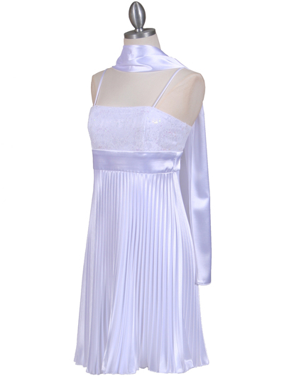 8515 White Pleated Cocktail Dress - White, Alt View Medium