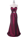 8540 Burgundy Strapless Tafetta Evening Dress