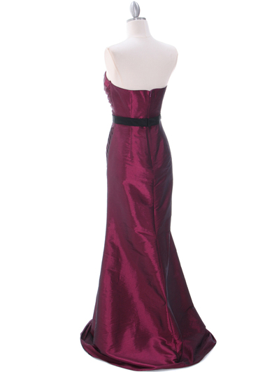 8540 Burgundy Strapless Tafetta Evening Dress - Burgundy, Back View Medium