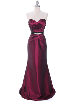 8540 Burgundy Strapless Tafetta Evening Dress, Burgundy