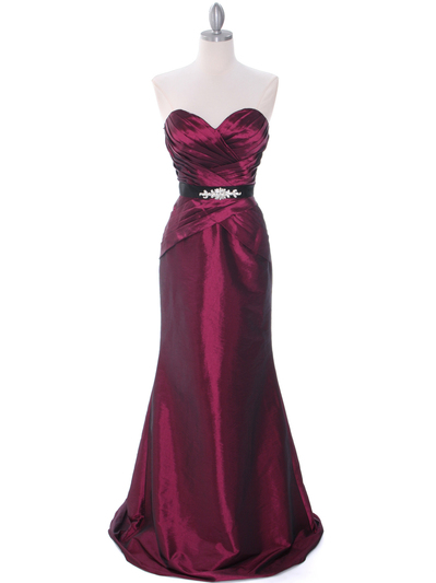 8540 Burgundy Strapless Tafetta Evening Dress - Burgundy, Front View Medium