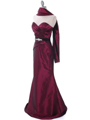 8540 Burgundy Strapless Tafetta Evening Dress - Burgundy, Alt View Thumbnail