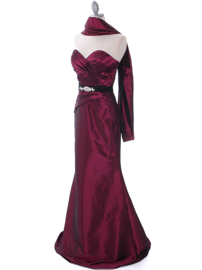 8540 Burgundy Strapless Tafetta Evening Dress - Burgundy, Alt View Medium