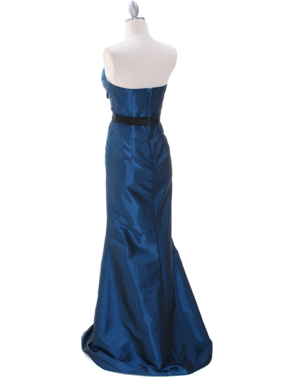 8540 Teal Strapless Tafetta Evening Dress - Teal, Back View Medium
