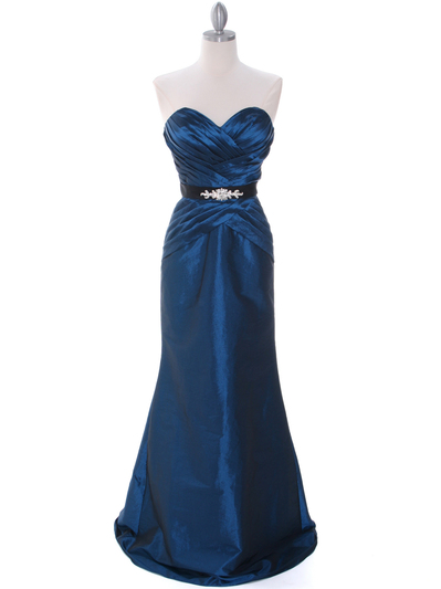 8540 Teal Strapless Tafetta Evening Dress - Teal, Front View Medium