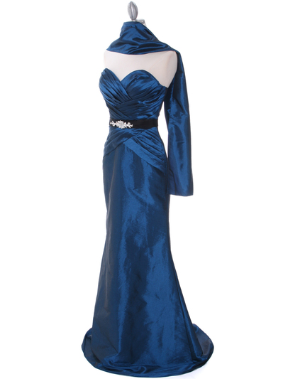 8540 Teal Strapless Tafetta Evening Dress - Teal, Alt View Medium