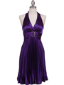8543 Purple Halter Pleated Cocktail Dress - Purple, Front View Thumbnail