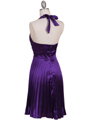 8543 Purple Halter Pleated Cocktail Dress - Purple, Back View Thumbnail
