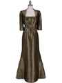 8551 Olive Taffeta Evening Dress with Bolero Jacket - Olive, Front View Thumbnail