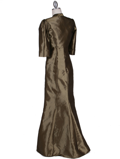 8551 Olive Taffeta Evening Dress with Bolero Jacket - Olive, Back View Medium