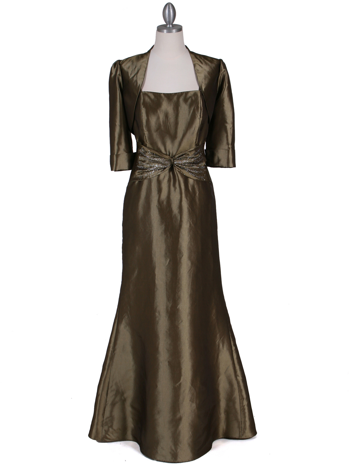 Olive Taffeta Evening Dress With Bolero Jacket Sung Boutique L A