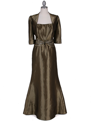 8551 Olive Taffeta Evening Dress with Bolero Jacket, Olive