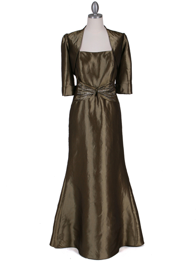 8551 Olive Taffeta Evening Dress with Bolero Jacket - Olive, Front View Medium