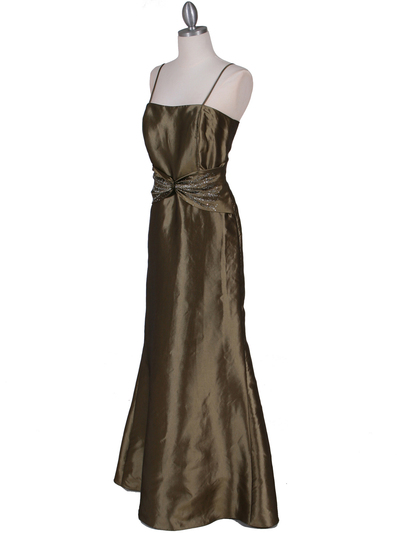 8551 Olive Taffeta Evening Dress with Bolero Jacket - Olive, Alt View Medium