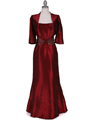8551 Wine Taffeta Evening Dress with Bolero Jacket