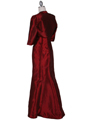 8551 Wine Taffeta Evening Dress with Bolero Jacket - Wine, Back View Thumbnail