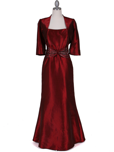 8551 Wine Taffeta Evening Dress with Bolero Jacket - Wine, Front View Medium