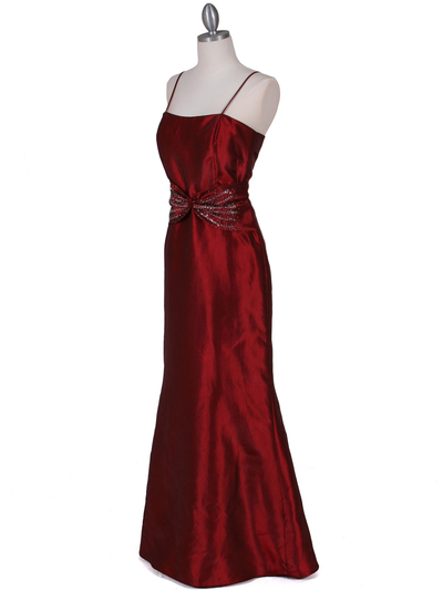 8551 Wine Taffeta Evening Dress with Bolero Jacket - Wine, Alt View Medium