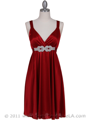 8563 Red Cocktail Dress, Red