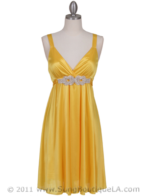 8563 Yellow Cocktail Dress, Yellow
