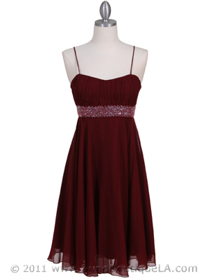 8569 Wine Cocktail Dress, Wine