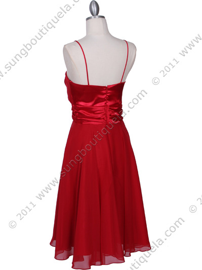 8610 Red Cocktail Dress - Red, Back View Medium
