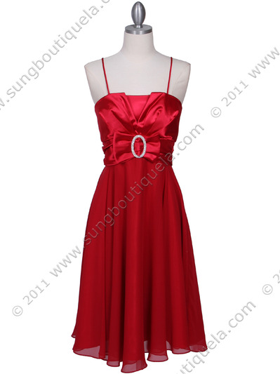 8610 Red Cocktail Dress - Red, Front View Medium