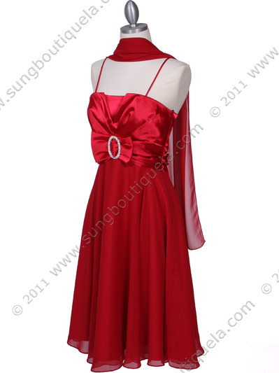8610 Red Cocktail Dress - Red, Alt View Medium